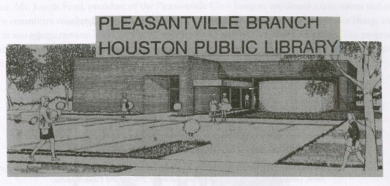 """A black and white drawing depicts the newly dedicated Pleasantville Branch of the Houston Public Library. Image appears in Talmadge and Geneva Sharp's history of the neighborhood """"Millennium Year 2000 AD and 50th-Year End Celebration of Pleasantville's Community Growth."""""""