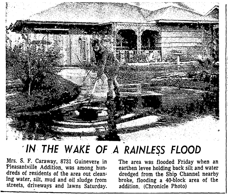 """Shows Mrs. Caraway sweeping the water and muck from a driveway and into the still quite flooded street. Her broom creates ripples in the standing water. Behind her, the driveway still appears slick with water from the flood. The image comes from an article in the Houston Chronicle (""""In the Wake of a Rainless Flood"""") dated December 8, 1957."""