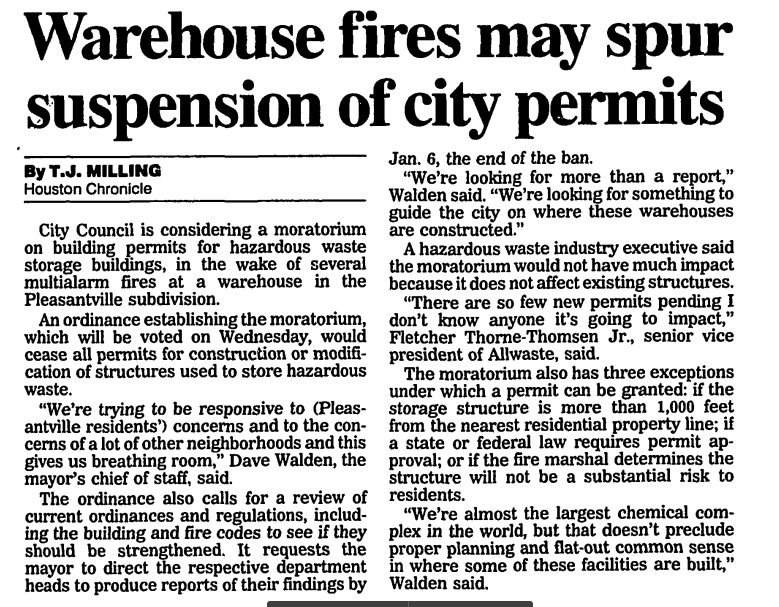 This Houston Chronicle article, written by T.J. Milling, addresses Houston City Council's consideration of a moratorium on new hazardous waste storage facilities in the wake of the 1995 warehouse fires.