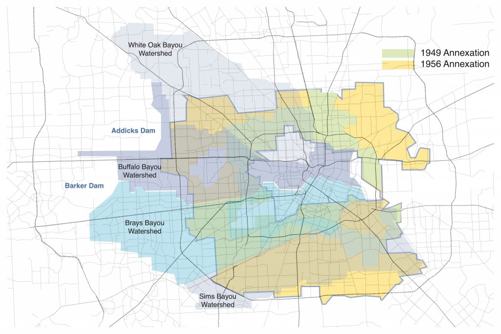 """This color coded-map shows the areas that were annexed by Houston during two of it's major mid-20th Century annexations, one in 1949 that is coded as yellow on the map and includes Pleasantville, and another in 1956, which is coded in green. The map also shows the city's major watersheds, White Oak Bayou, Brays Bayou, Buffalo Bayou, and Sims Bayou, as well as the Addicks dam in the far west side to give a sense of the flooding risks to these growing neighborhoods. Map by Bruce Race / CeSAR for Houston Chronicle (""""How can we save Houston's mid-century modern neighborhoods?"""" Sept 6, 2017)."""