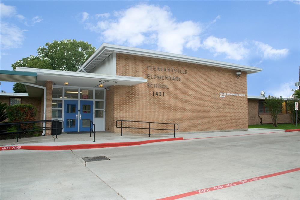 A photograph of Pleasantville Elementary's (HISD) facade and front entrance.